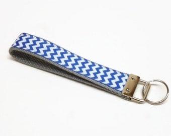 key fob key chain lanyard chevron blue white