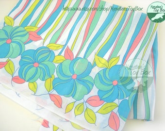 Vintage Fabric:Flower Power Mint Pink Yellow Blue 2 Yards