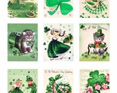 Digital clipart, instant download, Vintage St Patricks Day clip art, girls kittens shamrocks--Digital Collage Sheet (8.5 by 11 inches) 1460