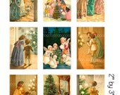 Digital Clipart, instant download, Vintage Christmas Images Children Edwardian child Christmas trees--digital collage sheet (8.5 by 11) 1859
