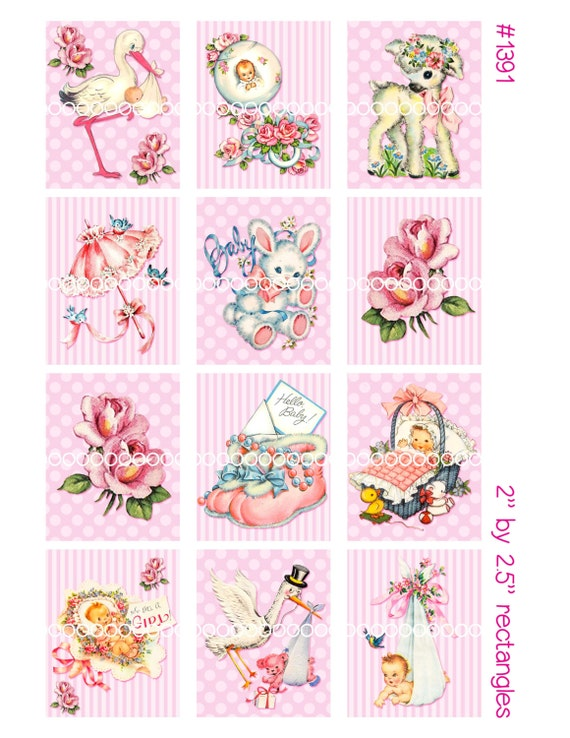 Digital Clipart, instant download, vintage baby card images, baby girl, stork, lamb, stuffed bunny, digital collage sheet, 8.5by11, 1391