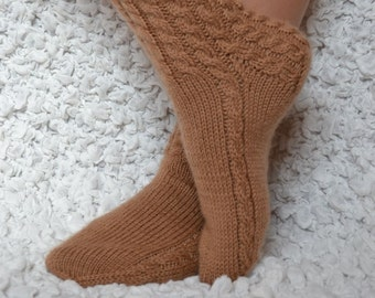Hand knit socks/slippers,brown knitted wool socks, knitted slippers socks, socks for home, wool socks for women's, brown wool women's socks