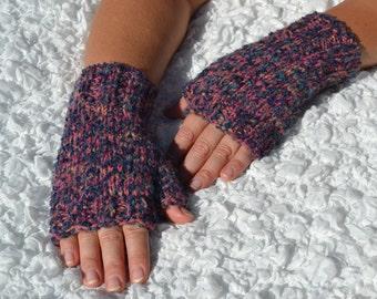 Hand-knitted fingerless women's gloves