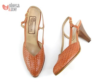 70s Bandolino Woven Sling-Back Heels | Tan Woven Boho High Heels Vintage 70s Heels • size 7 N