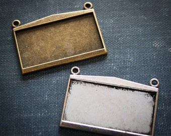 6 Rectangle connector Large Blank Photo Pendant Trays 24mm x 47mm -Cabochon settings Bezel Charms- Sale approx 1x2 inches