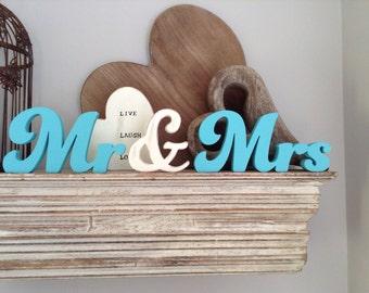 10cm Handpainted Freestanding Wedding Letters - Mr & Mrs - Funky font mix