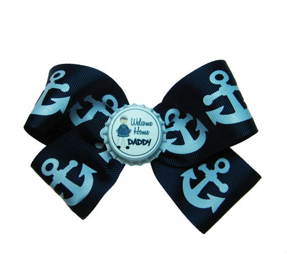 USN US Navy Anchor Welcome Home Daddy Hair Bow