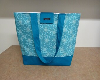 SALE!!!   Turquoise Flower Fabric Tote Bag
