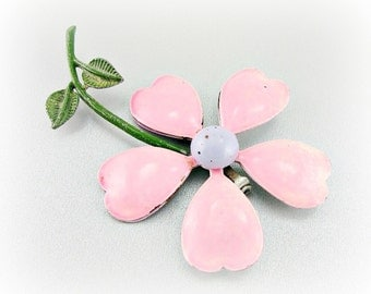Vintage Enamel Flower Brooch Pin, Pink Daisy Brooch, Pink Flower Brooch, 1960s 1970s Hippie Retro Spring Summer Floral Costume Jewelry