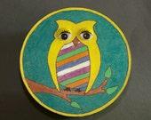 Owl Box, Keepsake, Memory Box, Owl Drawing, Round Box