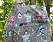 Tote bag in An Adorable Cuckoo Clock print, in Grey,blue, pink, citron.  Inside it's lined in Michael Miller stripes