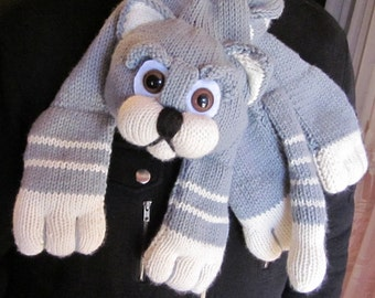 Handknitted Grey and White Cat Scarf / Neck Warmer / Wrap / Cowl with safety backed eyes. Great gift for a someone special.