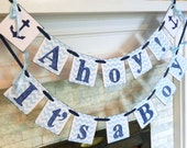Ahoy Its a Boy Banner -Nautical Baby shower Decor- Chevron Stripes Baby Boy Decor- Nursery Decoration- You pic the colors