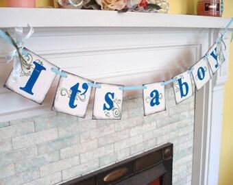 Its a Boy Banner , Baby Shower Decorations , Baby Boy decor , Birth Announcement , Nursery Decor