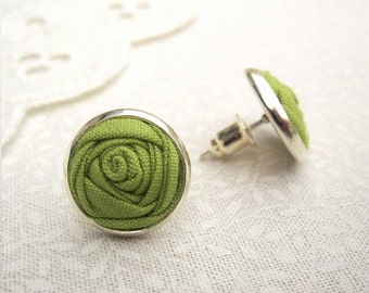 Apple Green Earrings - Fabric Flower Earrings - Bridesmaid Gift - Simple Silver Studs