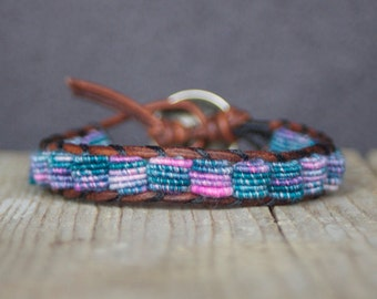 Boho Leather Bracelet, Hippie Style, Fabric Textile Beads