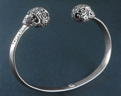 Sugar Skull Cuff - Antique Silver Day of the Dead Cuff Bracelet