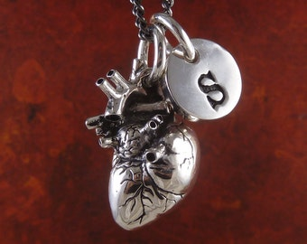 "Personalized Heart - Anatomical Heart with Initial Charm Necklace - Antique Silver Heart and Initial Pendant on 24"" Gunmetal Chain"