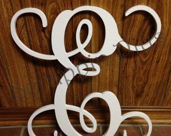 WHITE Single Vine Script Monogram Letter