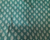 1meter indian  Cotton  fabric in green with white motifs