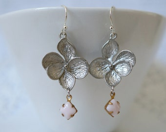 Matt Silver Flower with Pink Stone Earrings
