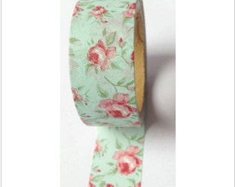 Washi Tape Vintage Roses on Mint Washi Tape Red Rose Washi Tape 11 yards 10 meters 20mm Mint Green Vintage Floral Red Flower