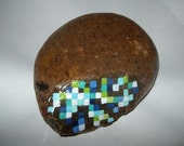 SALE Retro gem stone painting blue opal in matrix paperweight decoration pixel gems blue white lime green stone