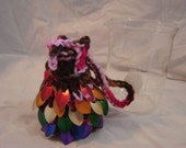 Rainbow pride Dragon skin dice tiny bag for fantasy gaming or LARP scalemail bag for coins pipe money medicine bag