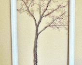 Framed Wall Art Jewelry Organizer Holder Wire Autumn Tree with Leaves -Useful Wire Art