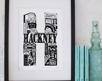 Best of Hackney - London print - London poster - London Art - Typographic Print - London illustration - letter art - East London poster
