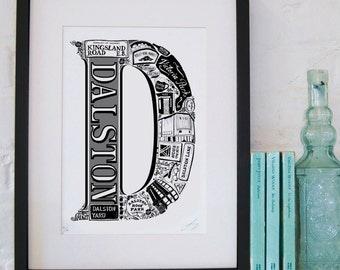 Best of Dalston - London print - London poster - London Art - Typographic Print - London illustration - letter art - East London poster