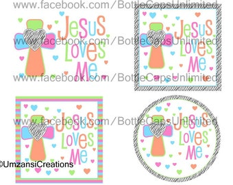 "DIY Printable ""Jesus Love Me 2"" Shrinkable Digital Images (JPEG File)"