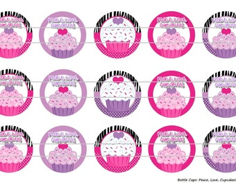 "15 Peace, Love, Cupcakes Zebra Digital Download for 1"" Bottle Caps (4x6)"