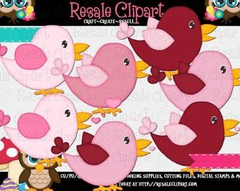 Valentine Birdies 1 Clipart (Digital File Download)