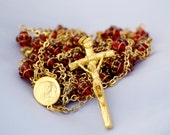 Ruby Red Glass Saturn Bead Gold Plate Ladder Rosary Catholic Handmade OOAK