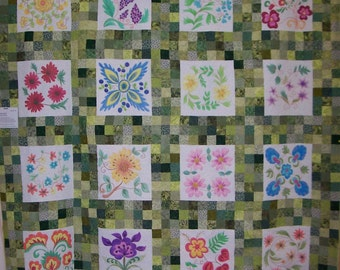 "Crayon Box Garden 93"" X 93"" Quilt One of a Kind"