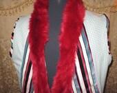 Unisex Burning Man Steampunk Costume Striped Velvet Big Top Circus Vest Red Fur Trim