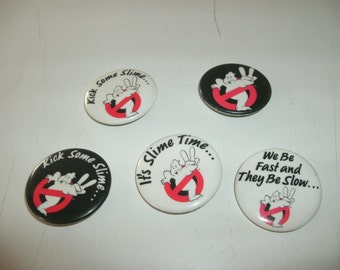 """Who You Gonna Call """" Ghostbusters""""  Set Of Five Original Pins"""
