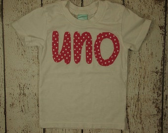READY TO SHIP size 6/12 girl's first birthday shirt uno tee Hot pink and white polka dot Shirt Girls Birthday Tee Organic Blend birthday tee
