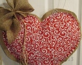 READY TO SHIP Valentine Day Burlap Door Hanger Red and White Heart
