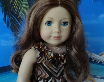 Hawaiian sundress in brown and rust batik for American Girl Lea Clark, Kanani, or similar 18 inch doll.