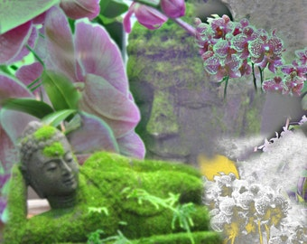Buddhas and Flowers Digital Fine Art Canvas Wrap