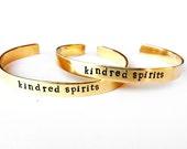 Friend friendship bracelet - matching jewelry bangle brass cuff - kindred spirits gold boho natural brass bracelet