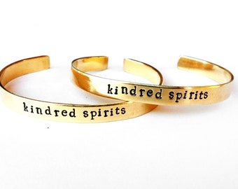 Friend friendship bracelet - matching jewelry bangle brass cuff - kindred spirits, gold, boho, natural, brass bracelet, handmade jewelry