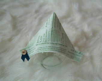 "Newspaper Sailor Hat, Newborn Baby Green Fabric ""Newspaper"" Hat, Newborn Photography Prop, Newborn Hat, Newspapaper Hat. Baby Hat"
