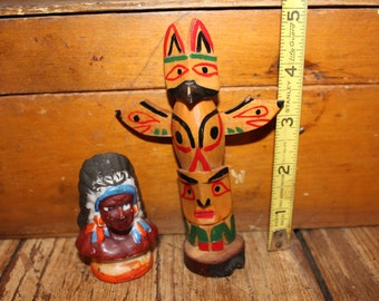 Totem pole and little Indian chief