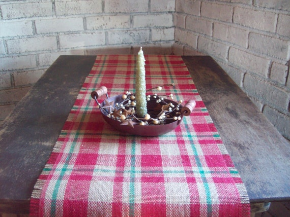 Plaid table runner burlap table runner by northcountrycomforts for Burlap christmas table decorations
