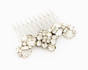 Silver Rhinestone Haircomb- Vintage, Bridal, Wedding, Prom, Pageant
