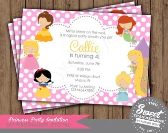 Disney Princess Invitation Birthday Party Inspired Digital Printable Belle Snow White Ariel Tangled Sleeping Beauty Cinderella