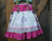 Tea party knot dress,  apron knot dress,   birthday dress,  available to order 2T, 3T,4T,5t